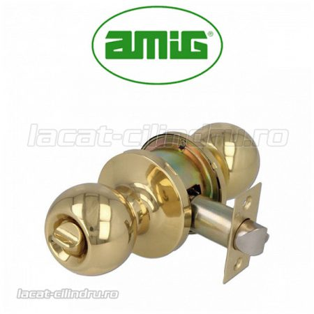 "Amig AM612  Maner Yale Knobset usa intrare cu blocaj alama ""wc"""